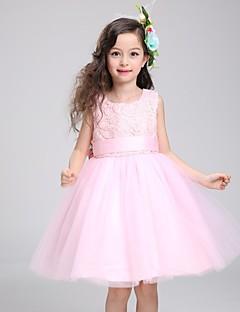 ieftine -rochie de bal rochie lungime floare fată rochie - bumbac fără mâneci gât de bijuterie cu panglică de mii