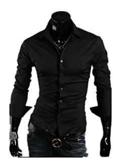 Χαμηλού Κόστους Επίσημα πουκάμισα-Ανδρικά Πουκάμισο Καθημερινά / Επίσημο / Δουλειά Βαμβάκι / Πολυεστέρας Μονόχρωμο Λεπτό / Μακρυμάνικο
