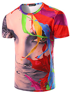Men's Sports Going out Casual/Daily Club Punk & Gothic T-shirt,Print Rainbow Round Neck Short Sleeve Cotton
