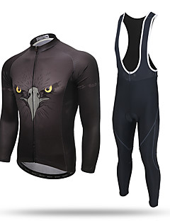 cheap Cycling Jersey & Shorts / Pants Sets-XINTOWN Men's Long Sleeves Cycling Jersey with Bib Tights - Black Bike Bib Tights Jersey Pants / Trousers Clothing Suits, 3D Pad,