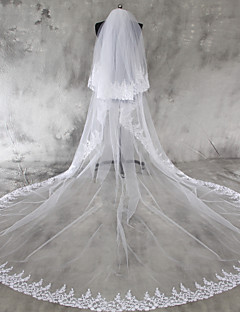 Two-tier Lace Applique Edge Wedding Veil Chapel Veils Cathedral Veils With Applique Lace Tulle