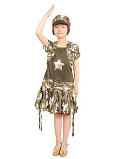 Cosplay Kostumer Party-kostyme Soldat/Kriger Prinsesse Film-Cosplay Sølv Grønn Fuksia Trykt mønster Vest Kjole HatterHalloween Jul