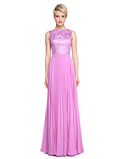 cheap Purple Passion-A-Line Bateau Neck Floor Length Chiffon Lace Bridesmaid Dress with Pleats by LAN TING BRIDE®