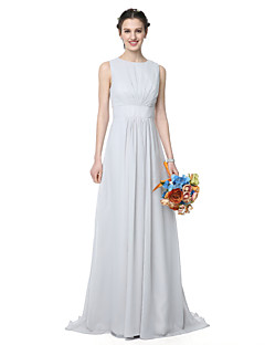 A-Line Jewel Neck Floor Length Chiffon Bridesmaid Dress with Pleats by LAN TING BRIDE®