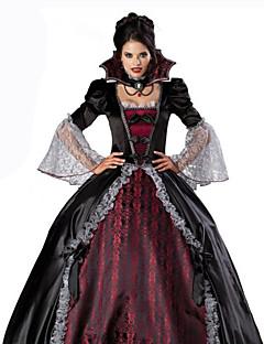 billige Halloweenkostymer-Queen Cosplay Kostumer Dame Karneval Festival / høytid Halloween-kostymer Drakter Rød+Svart Ensfarget