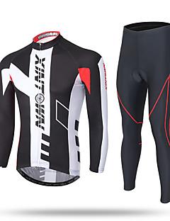 billiga Cykling-XINTOWN Herr Långärmad Cykeltröja och tights - Svart Cykel Tröja Byxa Klädesset, 3D Tablett, Snabb tork, UV-Resistent, Andningsfunktion,