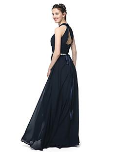 זול -גזרת A קולר עד הריצפה שיפון שמלה לשושבינה  עם חרוזים סרט קפלים על ידי LAN TING BRIDE®