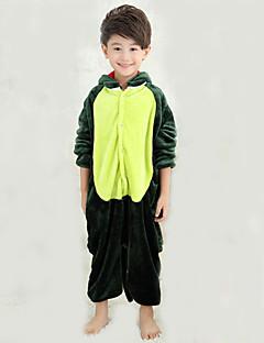 billige Kigurumi-Barne Kigurumi-pysjamas med tøfler Dinosaur Onesie-pysjamas Kostume Korallfleece Grønn Cosplay Til Pysjamas med dyremotiv Tegnefilm Halloween Festival / høytid