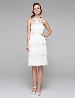 billiga Åtsmitande brudklänningar-Åtsmitande Prydd med juveler Knälång Spets Bröllopsklänningar tillverkade med Bård / Blomma av LAN TING BRIDE® / Liten vit klänning