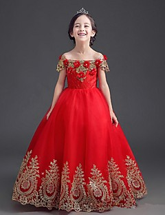 bal jurk vloer lengte bloem meisje jurk - stretch satijn off-the-shoulder door ydn