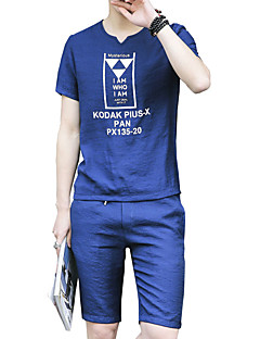 メンズ プラスサイズ 活発的 シンプル ストリートファッション カジュアル/普段着 スポーツ アクティブウェアセット ソリッド レタード Vネック マイクロ弾性 リネン 半袖 夏