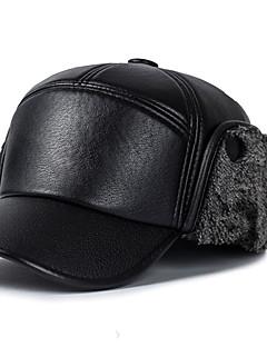 billige Trendy hatter-Herre Vintage Fritid Beret,Vinter Høst Lapper PU Svart Grå