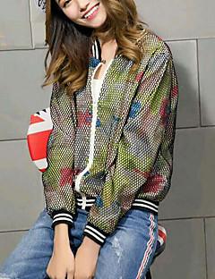 Damen Solide Aktiv Lässig/Alltäglich Jacke,Frühling Herbst Rundhalsausschnitt Langarm Separat waschen Standard Polyester