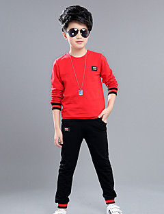 Daily Sports School Patchwork Clothing Set,Cotton Spring Fall Long Sleeve Cartoon Black Red Gray