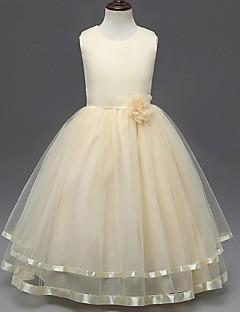 ieftine -rochie de mireasa glezna lungime floare fată rochie - organza fără mâneci gât de bijuterie cu flori de mii
