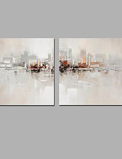 baratos Paisagens Abstratas-Pintura a Óleo Pintados à mão - Paisagem Clássico Modern Incluir moldura interna / Lona esticada