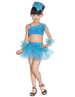 tanie Stroje do tańca latino-Taniec latynoamerykański Outfits Wydajność Akryl Cekin Kokardki Łączenie Bez rękawów Wysoki Top Spódnica Bransoletki Nakrycia głowy