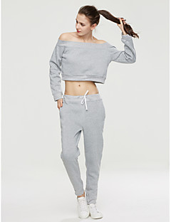 abordables -Manches Ajustées Pantalon Costumes Femme,Couleur Pleine Décontracté / Quotidien simple Automne Manches longues Bateau Micro-élastique