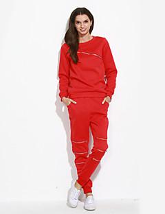 Dames Actief Zomer Set Pantalon Suits,Sportief Effen Ronde hals Lange mouw Rood / Grijs Polyester Medium