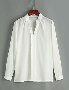 ieftine Chic Shirts-Dame În V Cămașă Muncă / Casul/Zilnic Sexy / Simplu(ă),Mată Manșon Lung Primăvară / Vară-Alb Mediu / Subțire Poliester
