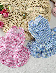 Cat Dog Dress Dog Clothes Cute Plaid/Check Blue Blushing Pink