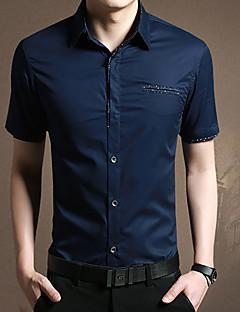 男性 カジュアル/普段着 夏 シャツ,シンプル シャツカラー ソリッド ブルー ホワイト グレイ コットン 半袖 ミディアム