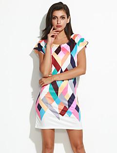 お買い得  ライトカラードレス-女性用 お出かけ キュート ストリートファッション シース 膝上 ドレス プリント 半袖 ラウンドネック
