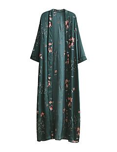 Løstsittende Swing Skjorte Kjole Ut på byen Fritid/hverdag Enkel Gatemote Dame,Ensfarget Blomstret V-hals Maksi Midi LangermetSilke