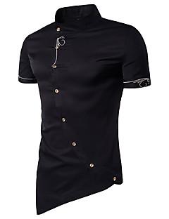 billige Herremote og klær-Bomull Tynn Opprett krage Skjorte Herre - Ensfarget, Kunstnerisk Stil