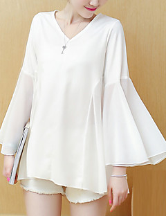 Women's Going out Work Plus Size Vintage Sophisticated Blouse,Solid V Neck Long Sleeve Rayon Polyester