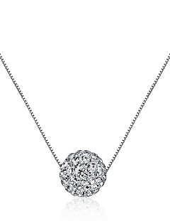 cheap -Women's Ball Rhinestone Sterling Silver Rhinestone Pendant Necklace  -  Euramerican Fashion Round Geometric Silver Necklace For Party