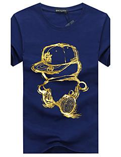 billige Herremote og klær-Bomull Polyester Kortermet,Rund hals Store størrelser T-skjorte Sommer Fritid Daglig Sport Herre