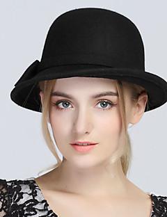 Kadın Vintage Günlük Yün Melon Şapka,Tüm Mevsimler Solid