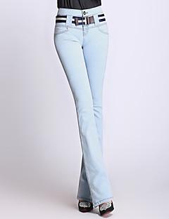 abordables -Femme Rétro Décontracté Taille Haute Elastique Pour Bottes (Bootcut) Jeans Pantalon Printemps Couleur Pleine