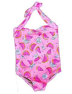 billige Badetøj til piger-Pige Blomster Trykt mønster Badetøj, Polyester Spandex Rosa