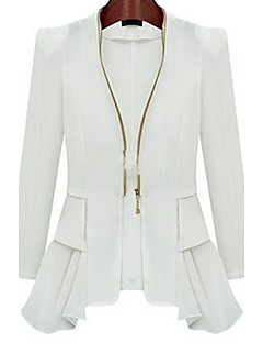 Women's Casual/Daily Simple Spring Fall Suit,Solid Shirt Collar Long Sleeve Regular Nylon