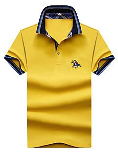 billige Herremote og klær-Bomull Skjortekrage Store størrelser Polo - Ensfarget Broderi Aktiv Herre