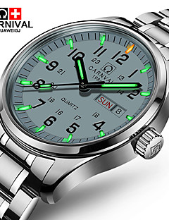 preiswerte Edelstahl-Carnival Herrn Quartz Armbanduhr Armbanduhren für den Alltag Edelstahl Band Charme Modisch Weiß