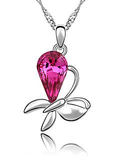 Kadın's Uçlu Kolyeler Kristal Flower Shape Mücevher Çiçek Çiçek Stili Çiçekler Mücevher Uyumluluk