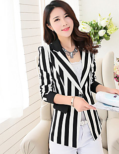Women's Going out Casual/Daily Work Simple Spring Fall Blazer,Striped V Neck ¾ Sleeve Regular Rayon