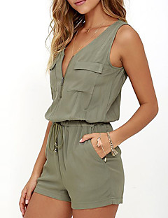 Women's Daily Going out Casual Sexy Solid V Neck Rompers,Slim Sleeveless Summer Polyester