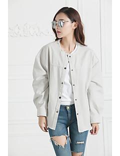 Damen Volltonfarbe Grundlegend Alltagskleidung Schultaschen Verabredung Jacke,Rundhalsausschnitt Frühling Herbst Lange Ärmel Standard N /