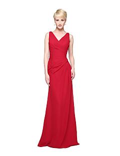 cheap Bridesmaid Dresses-Sheath / Column V Neck Floor Length Chiffon Bridesmaid Dress with Pleats by LAN TING BRIDE®