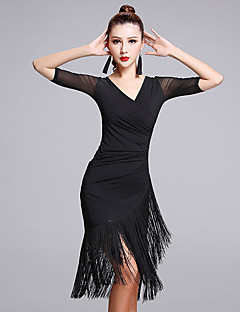 cheap Latin Dance Wear-Latin Dance Dresses Women's Performance Milk Fiber Tassel Half Sleeves Natural Dress