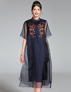 Kadın Dışarı Çıkma Sevimli Salaş Elbise Solid,Kısa Kollu Yuvarlak Yaka Midi İpek Bahar Yaz Normal Bel Esnemez Orta