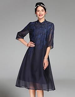 Kadın Dışarı Çıkma Sade A Şekilli Elbise Solid,½ Kol Uzunluğu Yuvarlak Yaka Diz üstü İpek Bahar Yaz Normal Bel Esnemez Orta