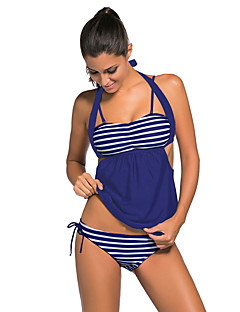 Women's Halter Tankini,Lace Up High Rise Color Block Sport Polyester Spandex