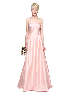 cheap Long Bridesmaid Dresses-A-Line Sweetheart Floor Length Taffeta Bridesmaid Dress with Pleats by LAN TING BRIDE®