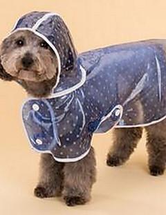 billiga Hundkläder-Hund Regnjacka Hundkläder Prickig Blå Rosa PU läder Kostym För husdjur Gulligt