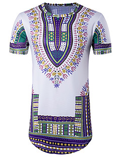 Men's Going out Casual/Daily Club Vintage Boho Street chic T-shirt,Print Round Neck Short Sleeve Cotton Polyester